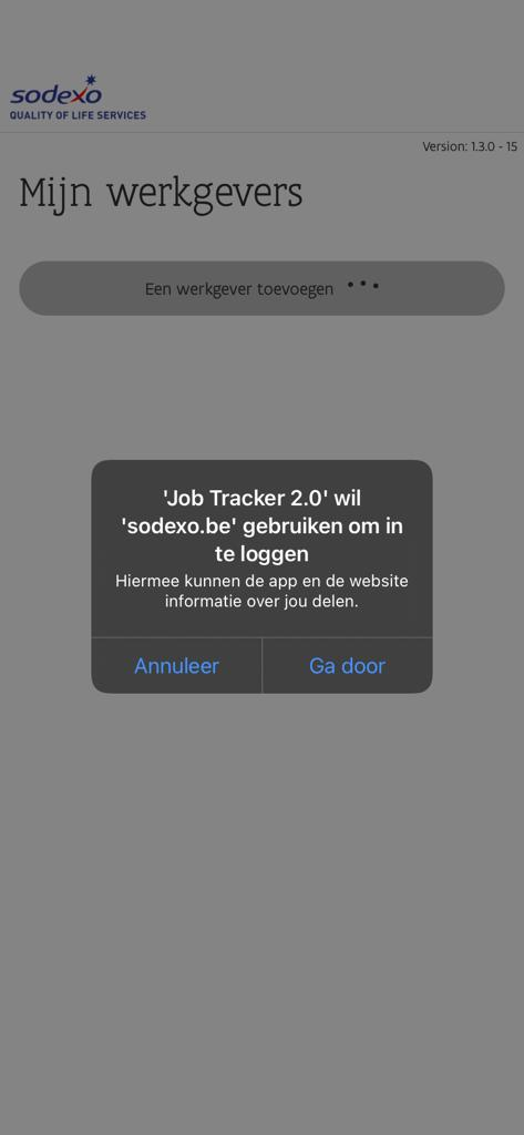 Verbinding maken met Sodexo job tracker