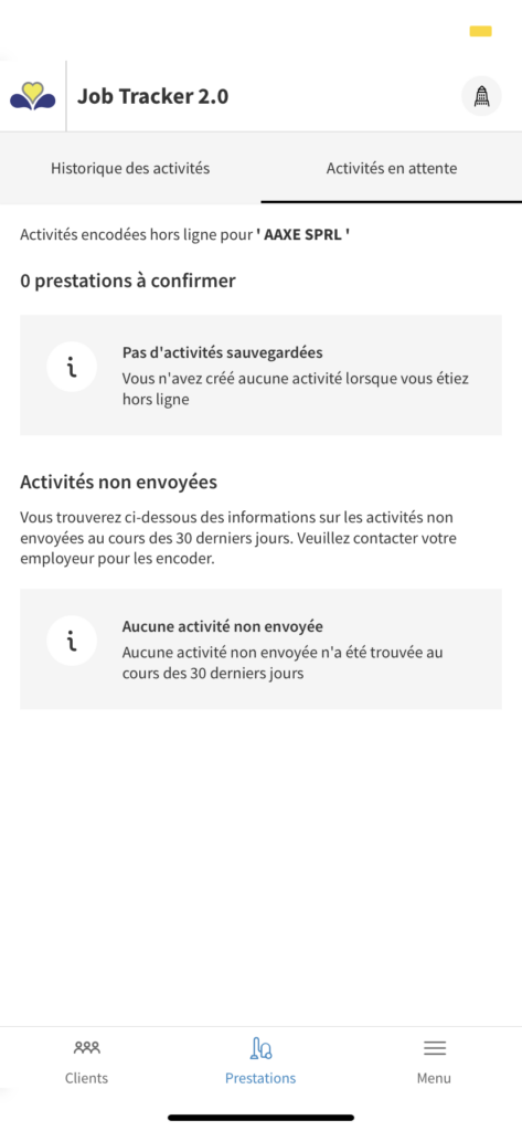 activité en attente de validation