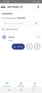 Adding an activity Job tracker 2.0
